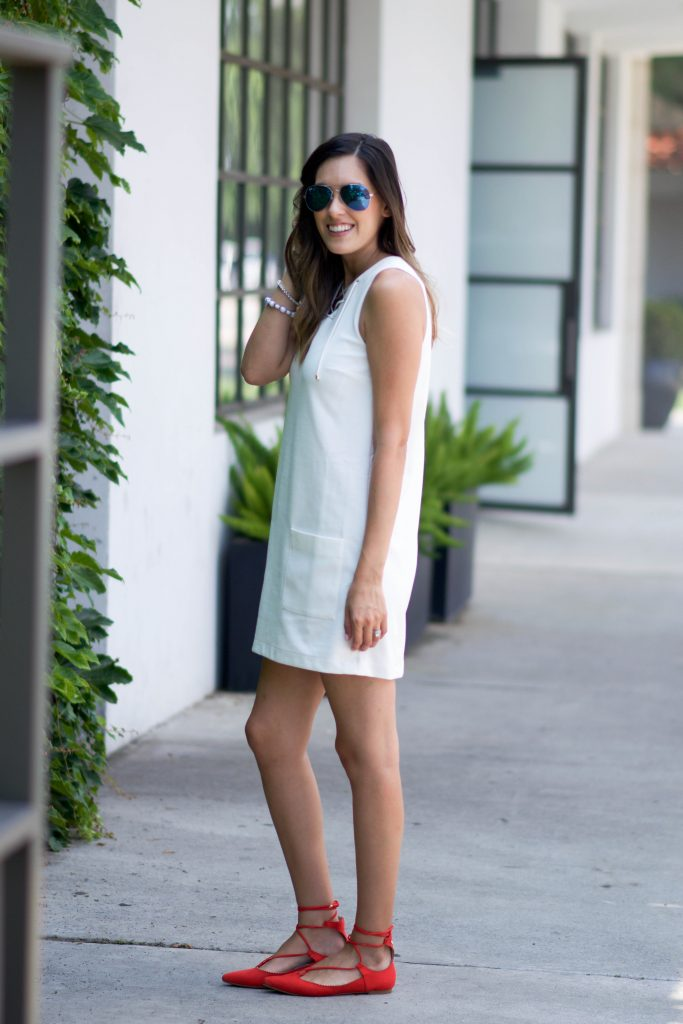 white lace up dress