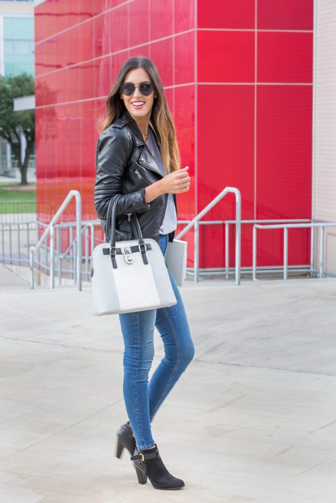 capsule wardrobe, biker jacket, high waisted jeans