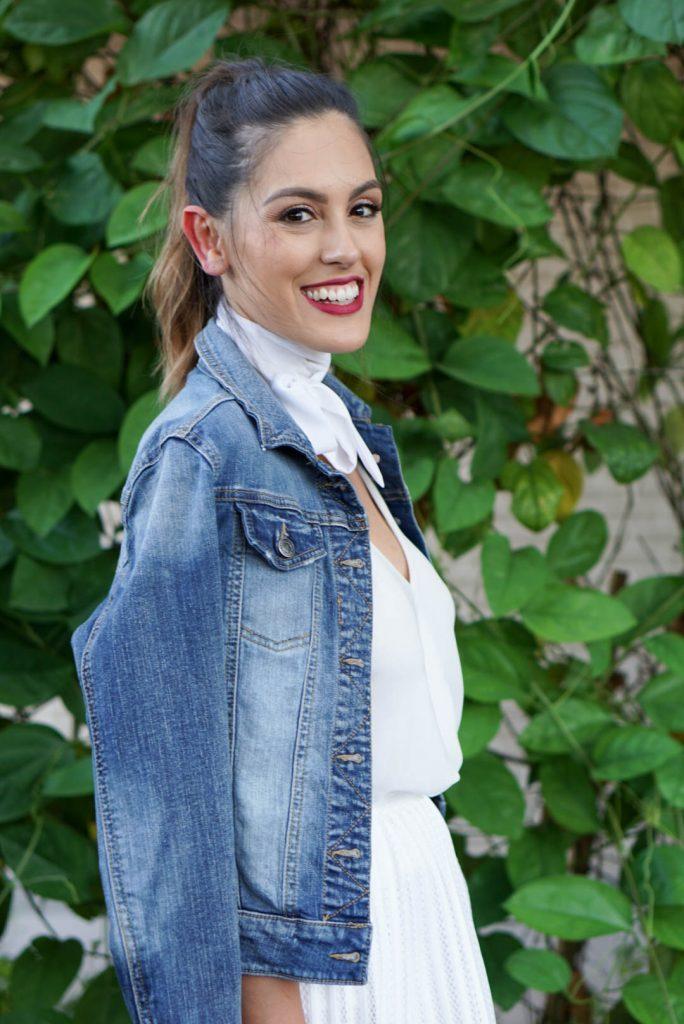 Target Jean Jacket, H&M White Midi Skirt