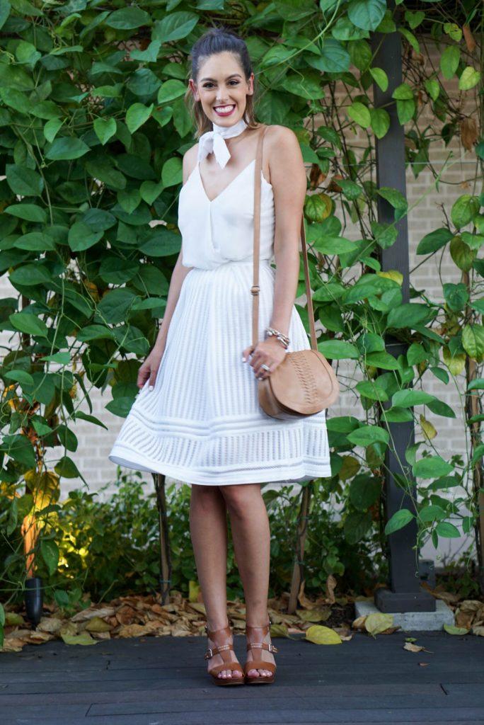 Marc Fisher Heels, H&M White Midi Skirt