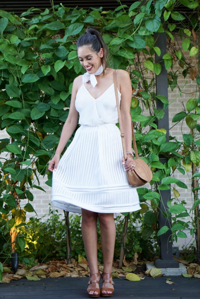 Marc Fisher Heels, H&M White Midi Skirt