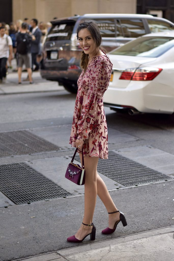 red and blush floral suede dress