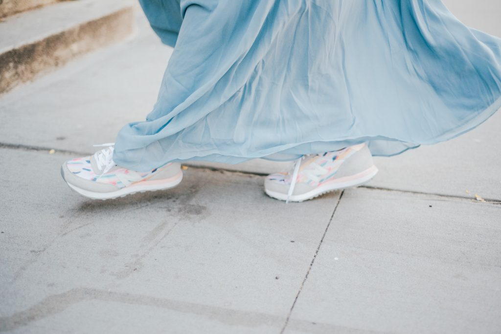 halter gown and sneakers