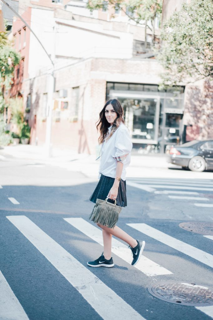 mens button down, pleated skirt and sneakers