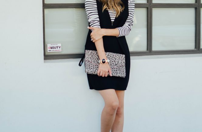 black neck dress, striped tee and loafers