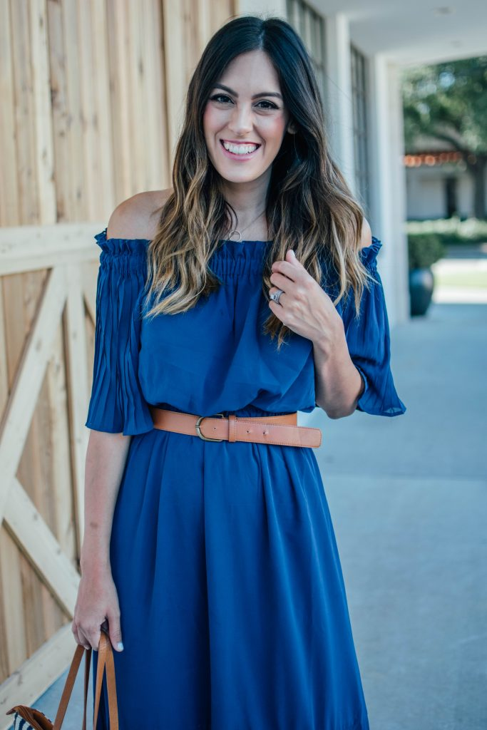 blue off the shoulder pleated dress