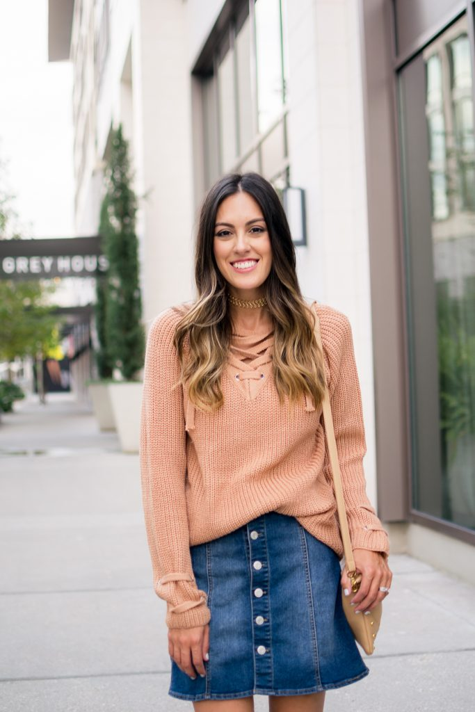 style the girl lace up sweater