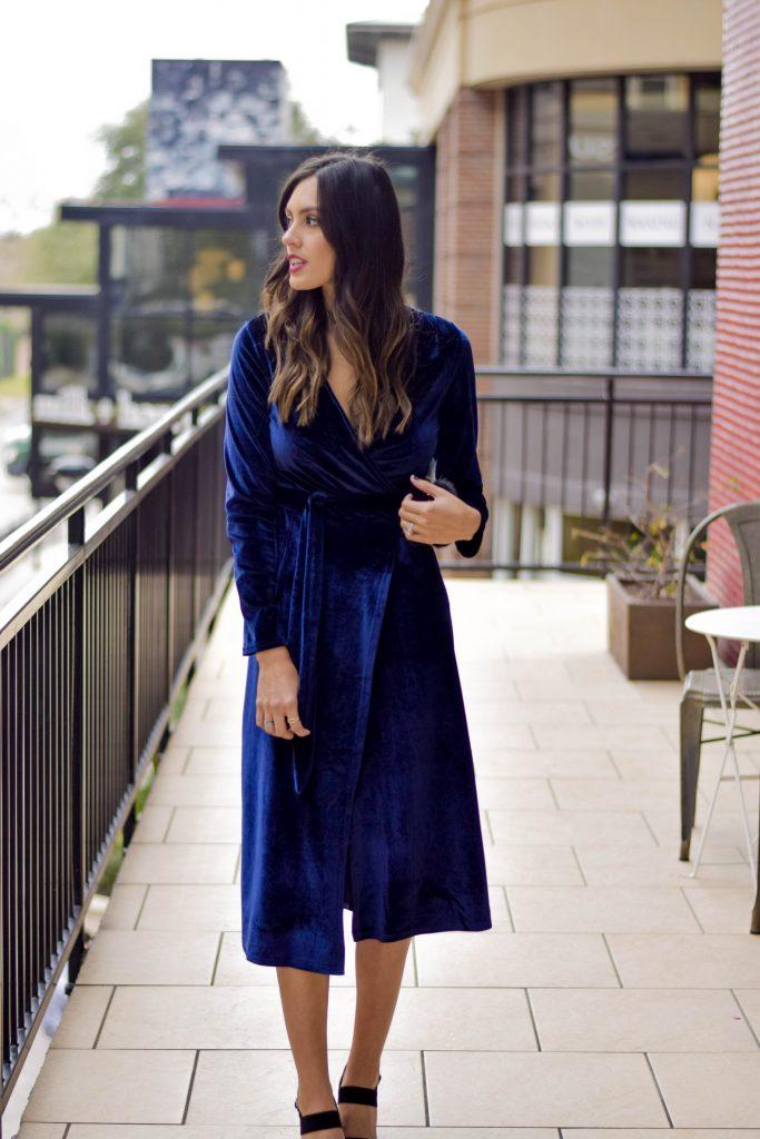 style the girl velvet wrap dress