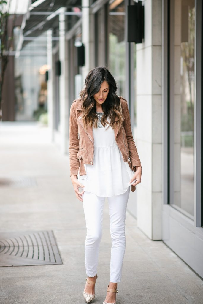 style the girl white sheer top and brown suede moto jacket