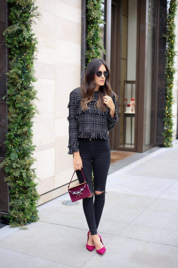 Style The Girl Black Fringe Top