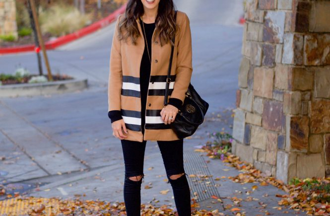 Style The Girl Camel and Striped Jacket
