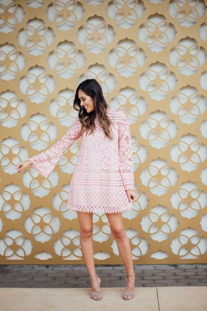 style the girl pink pom pom dress