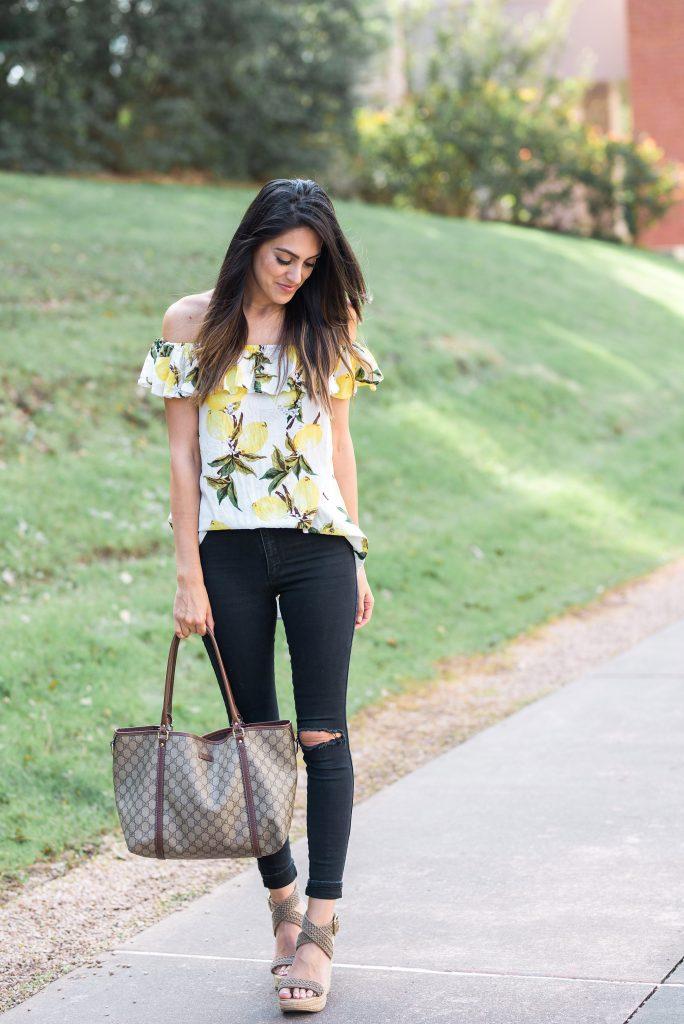 Style The Girl Lemon Print Top