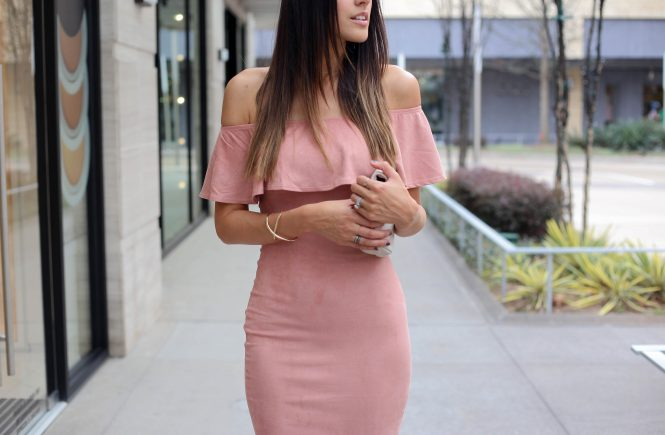 Style The Girl Pink Suede OTS Dress