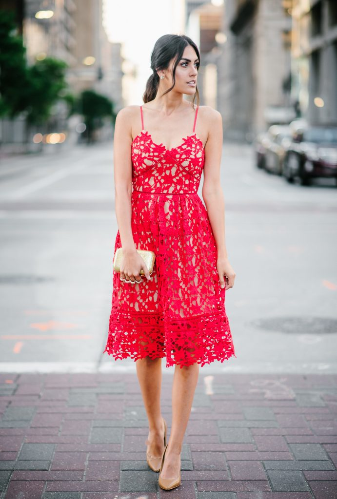 Style The Girl Red Hollow Lace Dress Wedding Style