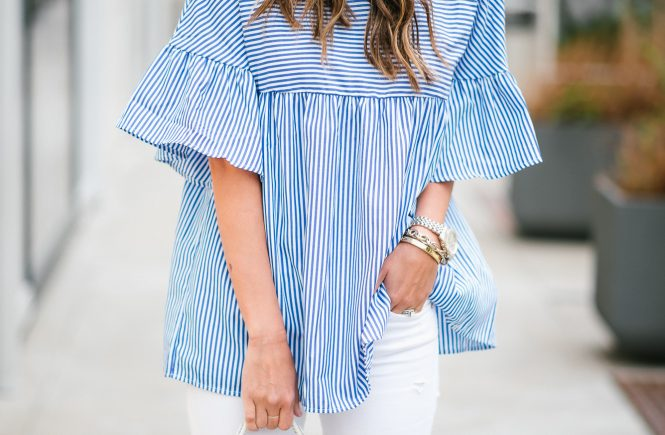 Blue and White Striped Peter Pan Top