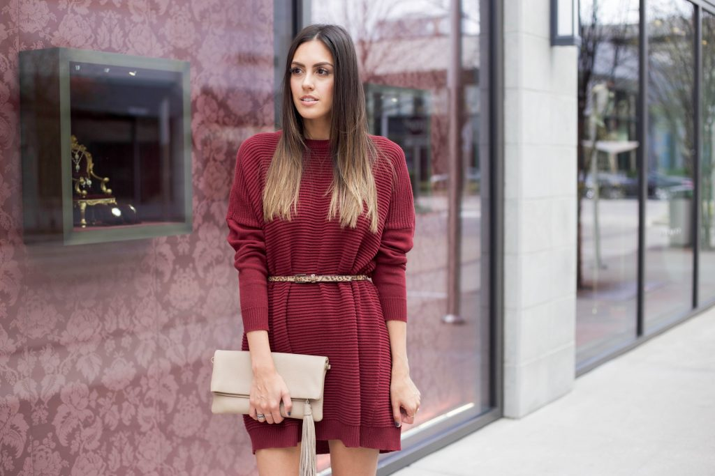 Style The Girl Wine Sweater Dress
