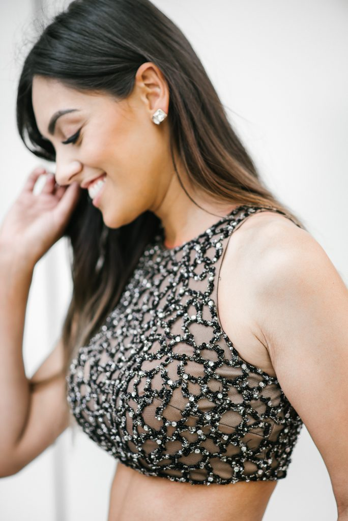 Style The Girl Black Rhinestone Detail Crop Top Prom Dress/Gown