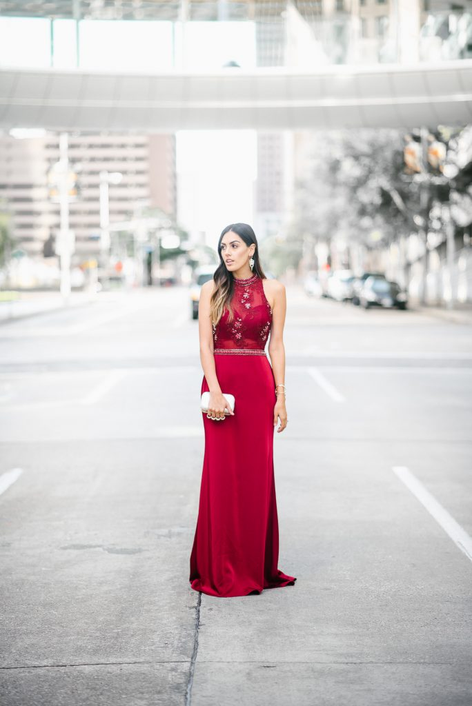 Style The Girl Burgundy Beaded Dress/Gown
