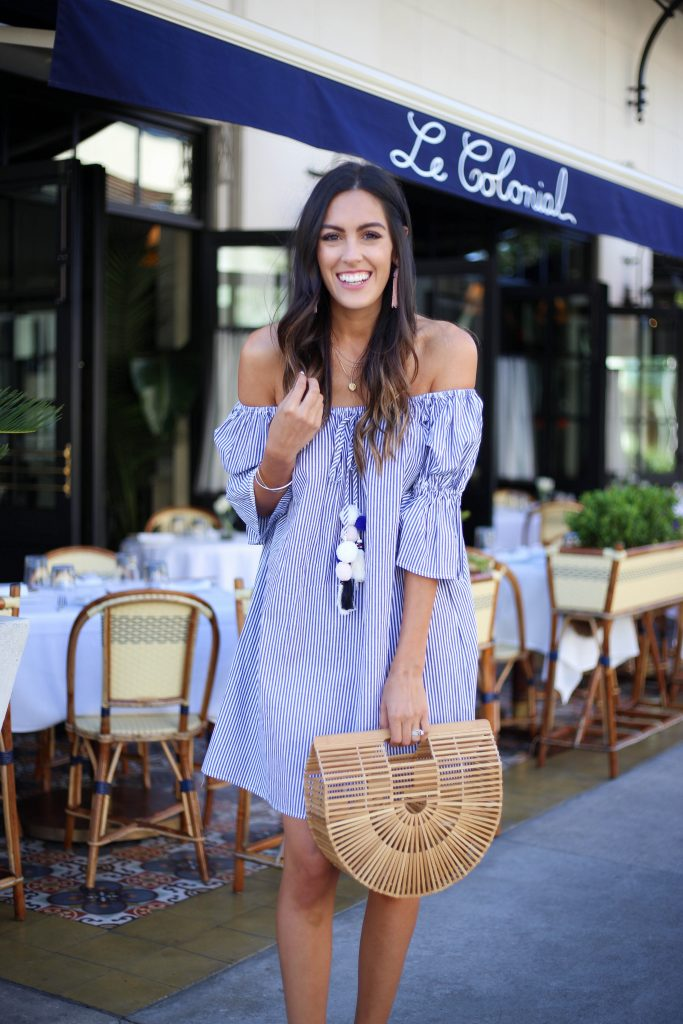 Style The Girl Striped Off The Shoulder Dress, best off the shoulder dresses under $50
