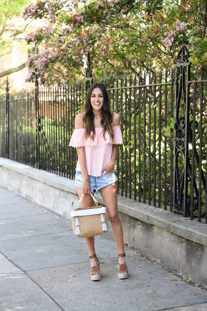 Style The Girl Pink Off The Shoulder Top, Ripped Shorts & Brown Wedges