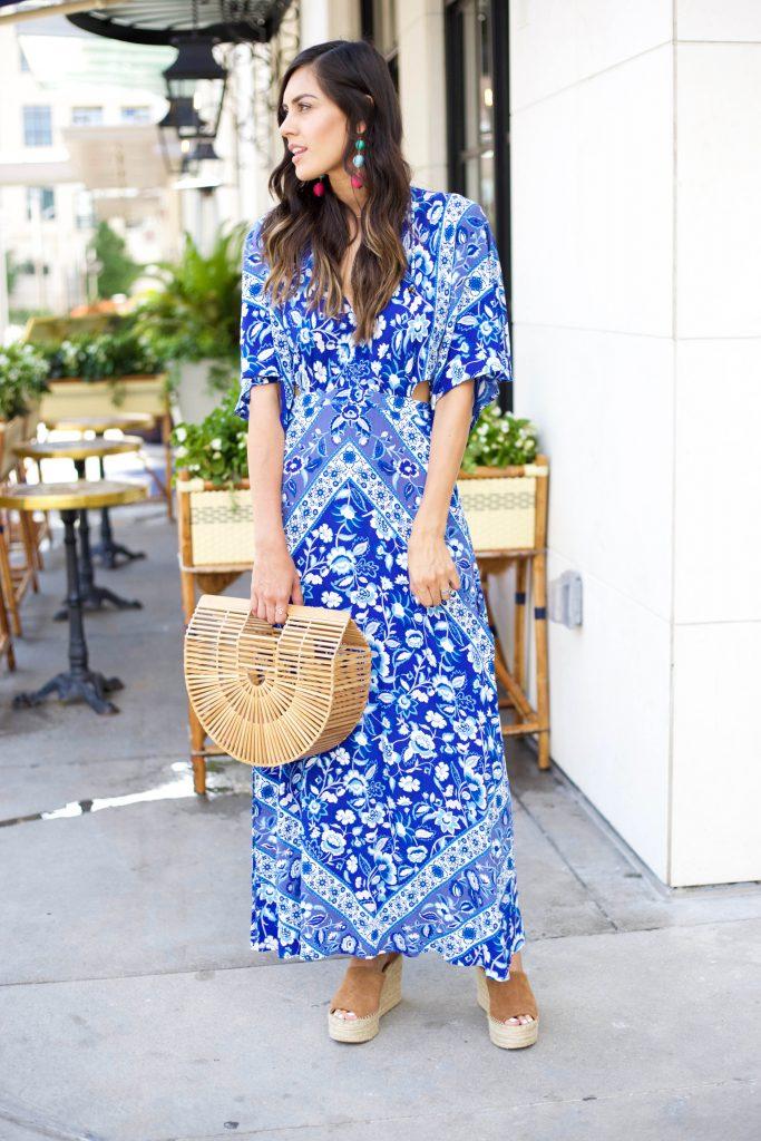 Style The Girl Blue Cutout Maxi Dress