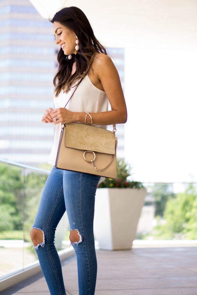 Style The Girl White Tank, Ripped High Waisted Jeans and Celine Bag