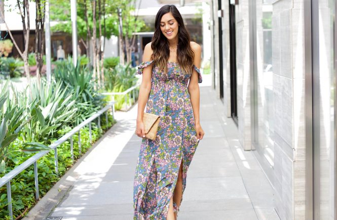 Floral High Slit Maxi Dress