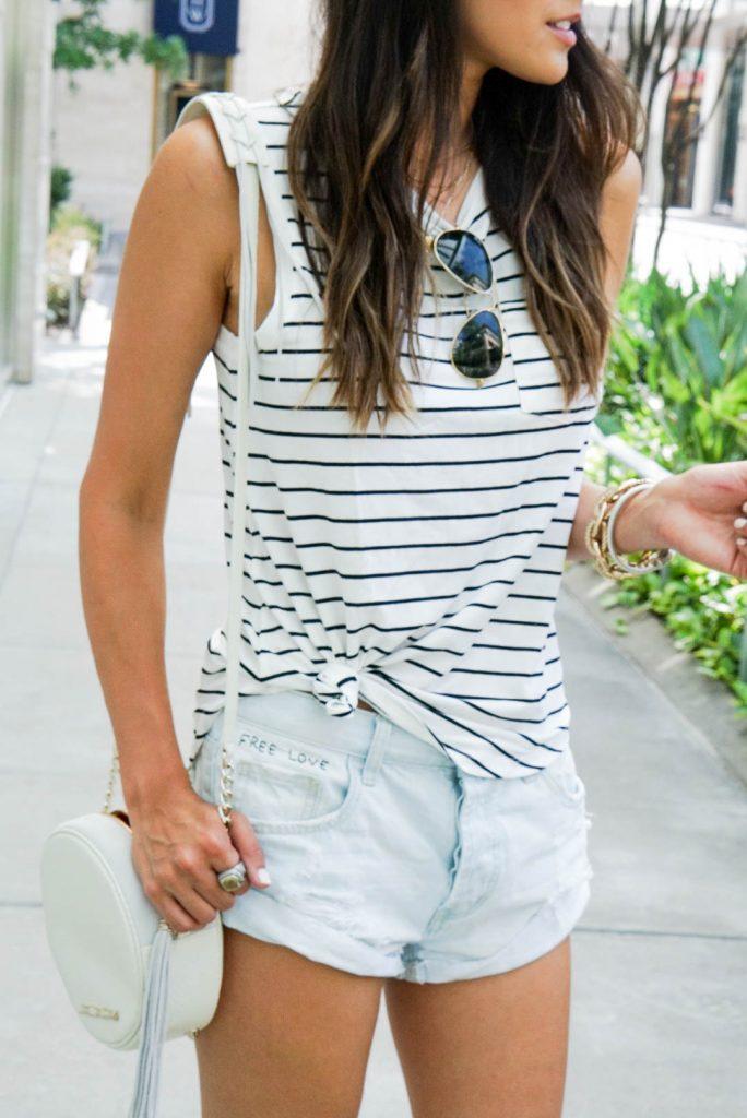 Style The Girl Striped Sleeveless Tee