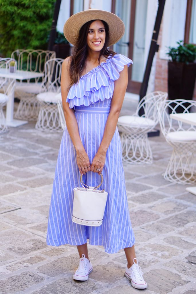 Style The Girl Striped One Shoulder Midi Dress
