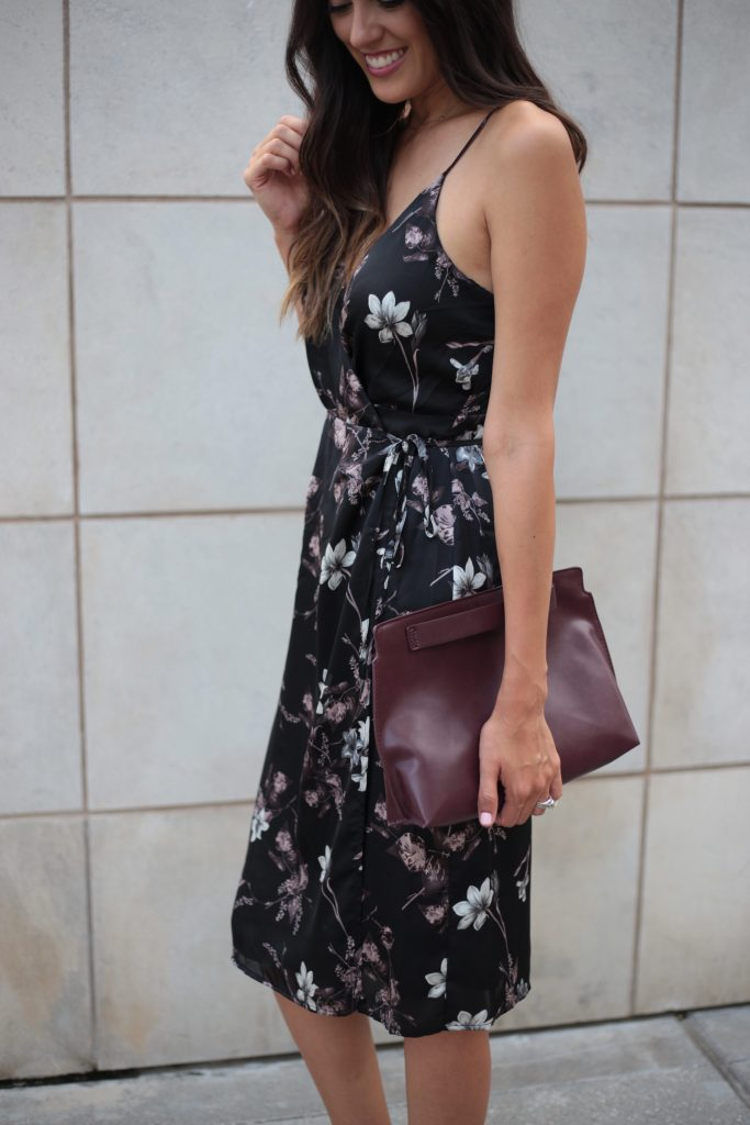 Style The Girl Black Floral Wrap Dress