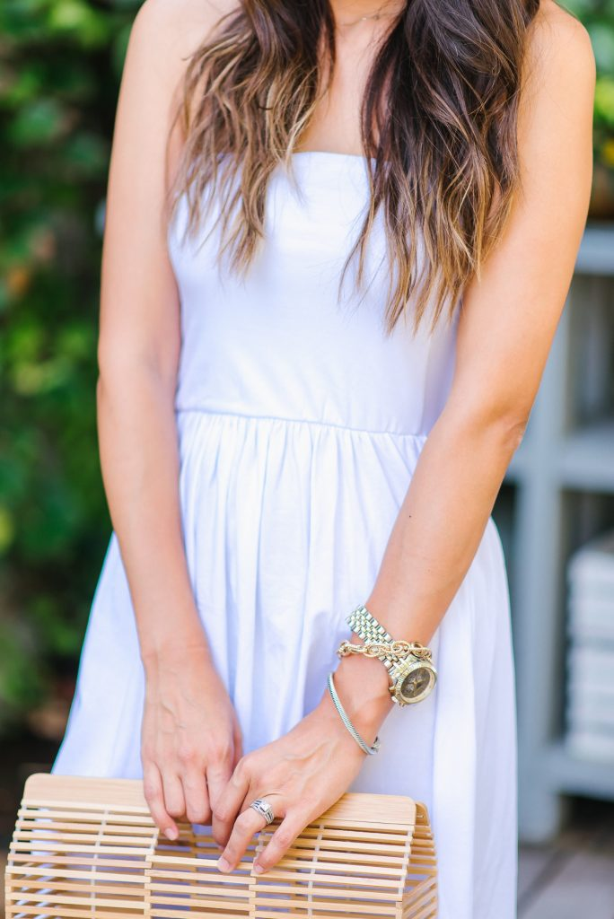Style The Girl Strapless White Midi Dress