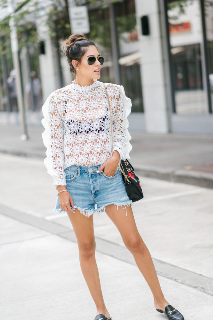 Style The Girl Denim Shorts and Sheer White Top