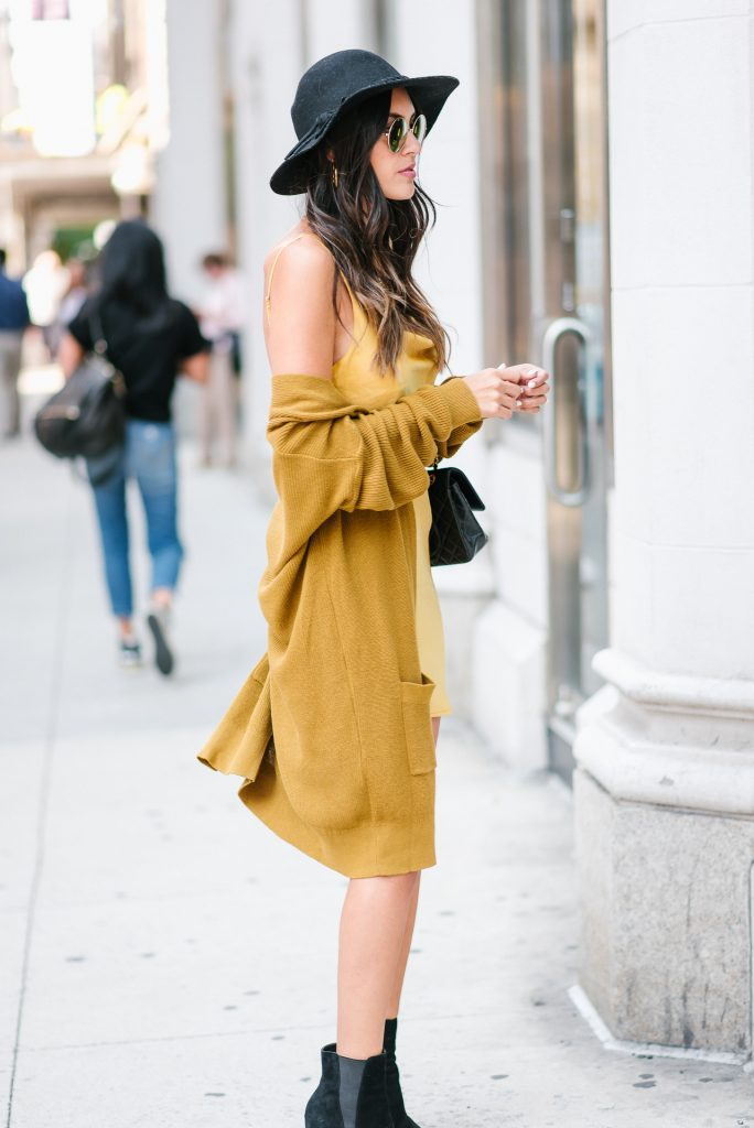 Style The Girl Mustard Yellow Slip Dress and Oversized Cardigan NYFW