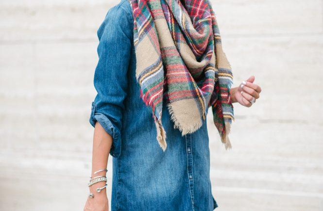 Style The Girl Denim Dress and Taftan Scarf