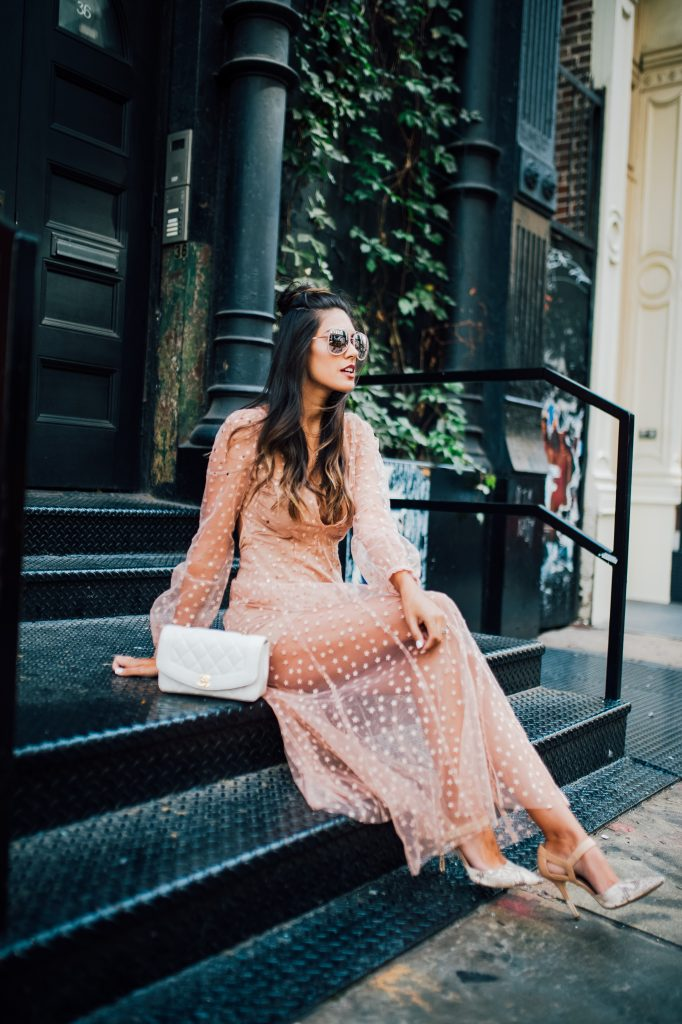 Style The Girl Sheer Star Embroidered Maxi Dress with Grey Suede Jacket