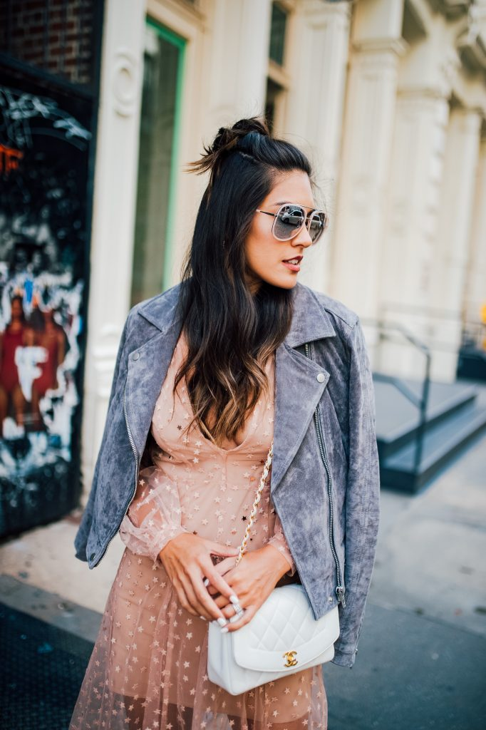 Style The Girl Sheer Star Embroidered Maxi Dress with Grey Suede Jacket NYFW