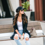 Style The Girl Ripped Denim, Cardigan and a Leutinent Cap