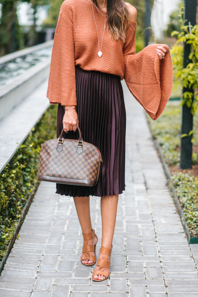 Style The Girl Bell Sleeve Sweater and Pleated Skirt