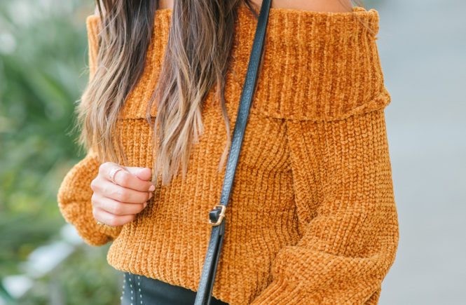Style The Girl Chenille Off The Shoulder Top and Pleather Skirt