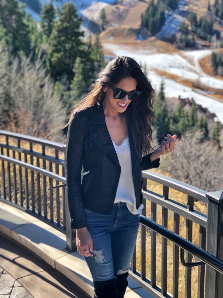 Style The Girl Black Vegan Moto Jacket in Park City