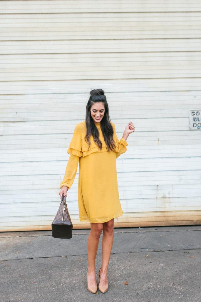 Style The Girl Flowy Mustard Dress