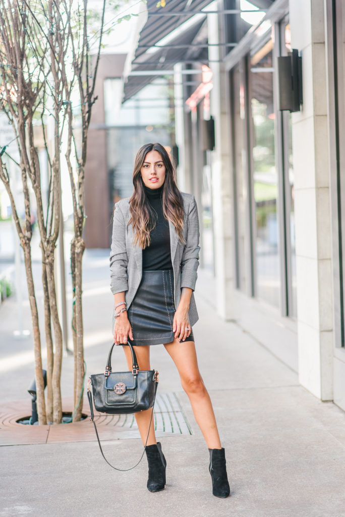 Style The Girl Pleather Skirt, Checkered Jacket and Booties for Fall