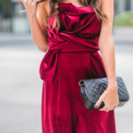 Style The Girl Wine Velvet Jumpsuit