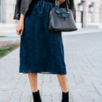 Style The Girl Blue Velvet Tie String Dress