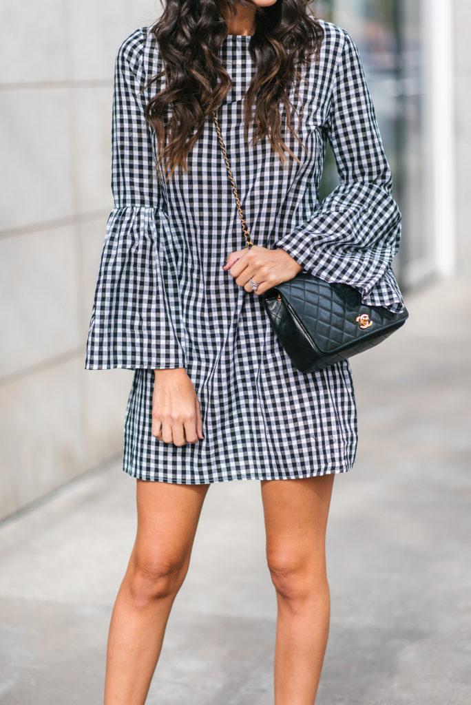 Style The Girl Gingham Bell Sleeve Dress