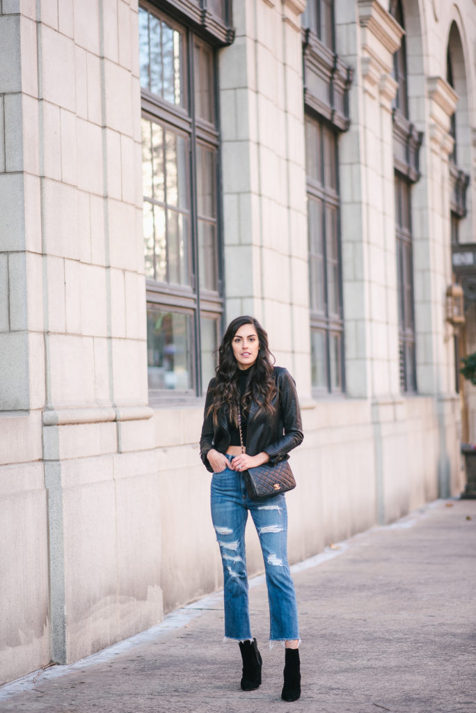 Style The Girl How To Style A Crop Drop, Ripped High Waisted Jeans and Moto Jacket