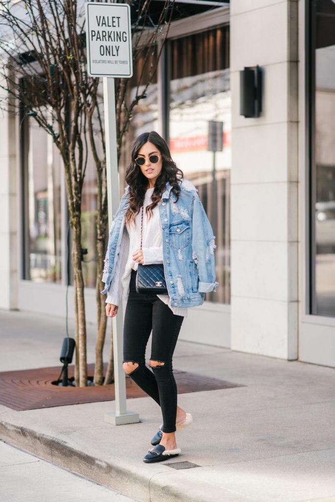 Style The Girl Oversized Denim Jacket,  Black Jean and Slides