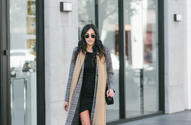 Style The Girl Bodycon Dress with Long Coat and Boots