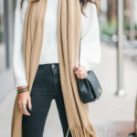Style The Girl White Sweater with Black Distressed Jeans and Camel Oversized Scarf Winter Look